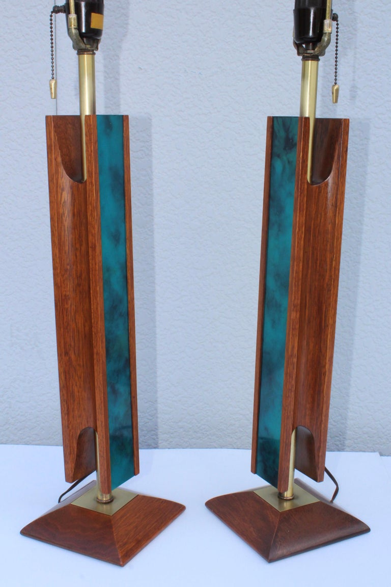 Mid-Century Modern Modeline Walnut Table Lamps For Sale 2