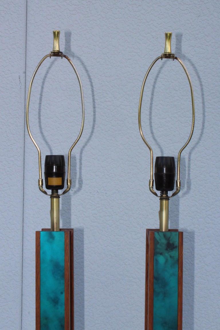 Mid-Century Modern Modeline Walnut Table Lamps For Sale 3
