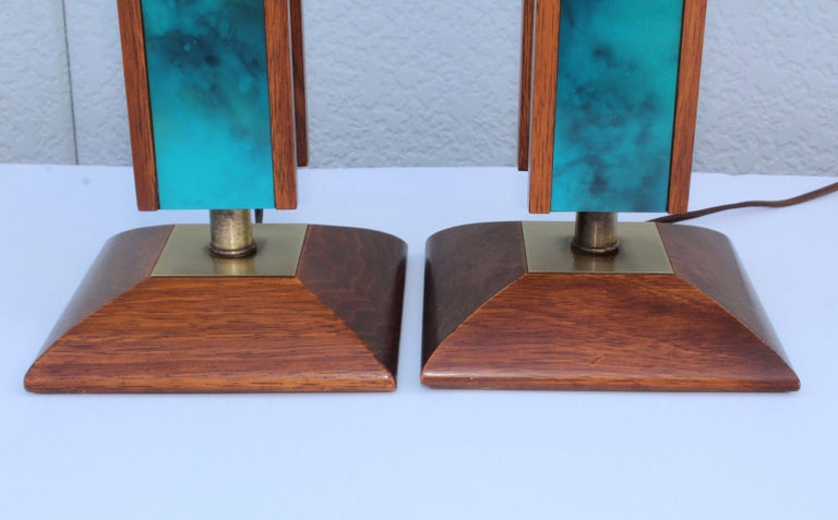 Mid-Century Modern Modeline Walnut Table Lamps For Sale 4