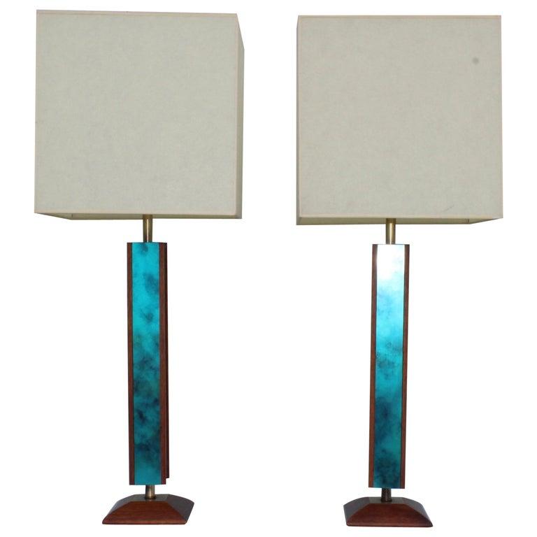 Mid-Century Modern Modeline Walnut Table Lamps For Sale