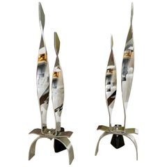 Mid-Century Modern Modernist Pair of Chrome Polished Steel Andirons 1980s Japan