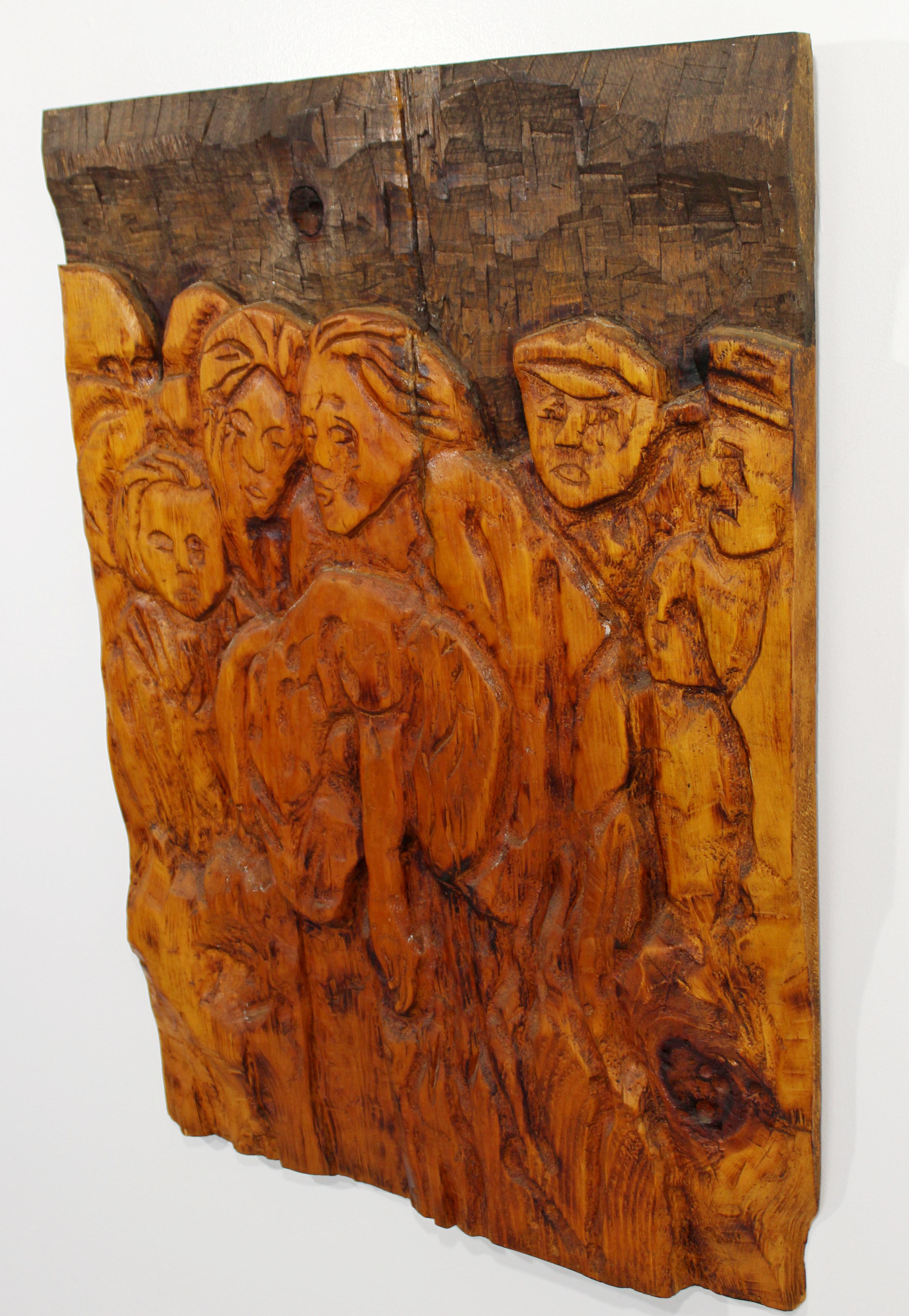 Mid Century Modern Modernist Wood Wall Art Sculpture Relief Jean Claude Gaugy