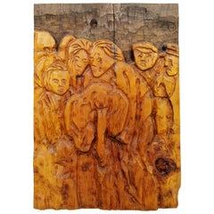Mid-Century Modern Modernist Wood Wall Art Sculpture Relief Jean Claude Gaugy