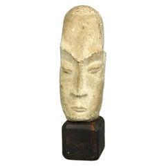 Mid-Century Modern Modigliani School Carved Marble Bust of Tribal Man, 20th C