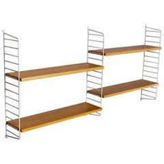 Mid-Century Modern Modular Birch and Coated Wire Wall Shelves by String Sweden