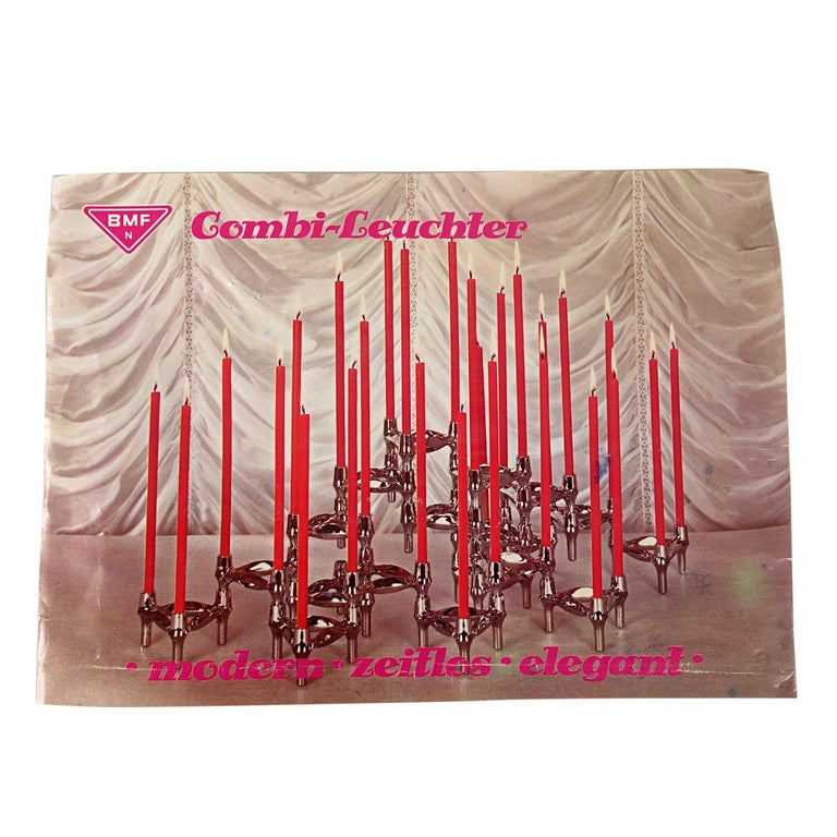 Mid-Century Modern Modular Candleholders '9X' by Caesar Stoffi for BMF Nagel For Sale 1