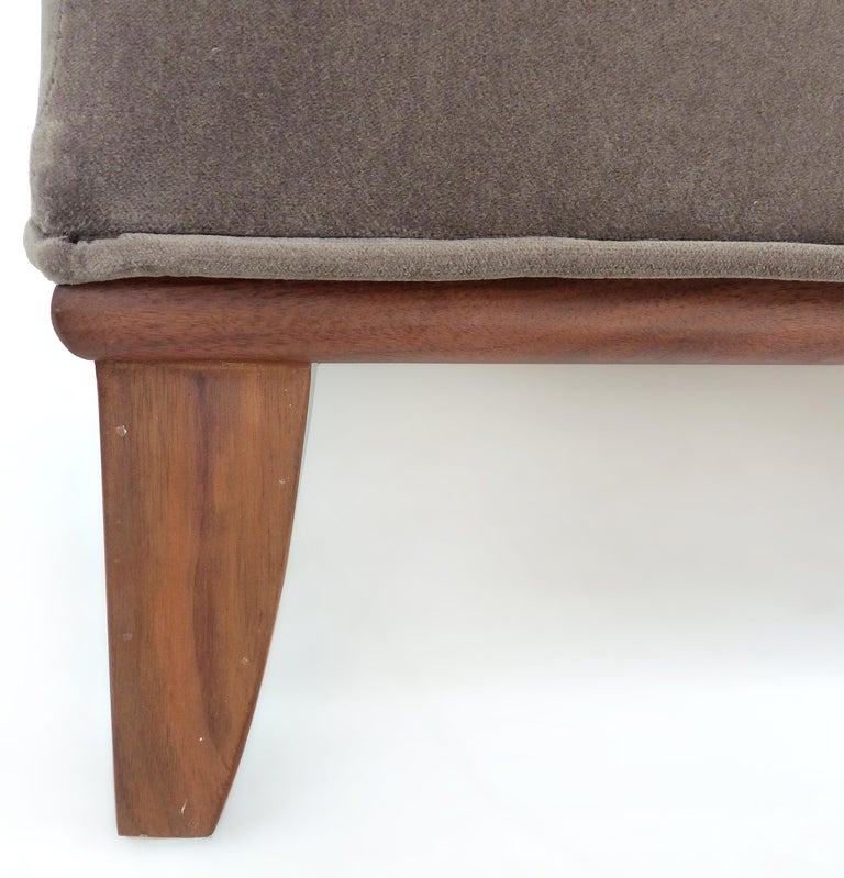 American Mid-Century Modern Mohair Upholstered Ottoman with Wood Base
