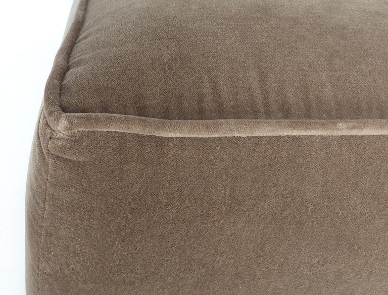 Mid-Century Modern Mohair Upholstered Ottoman with Wood Base In Good Condition In Miami, FL