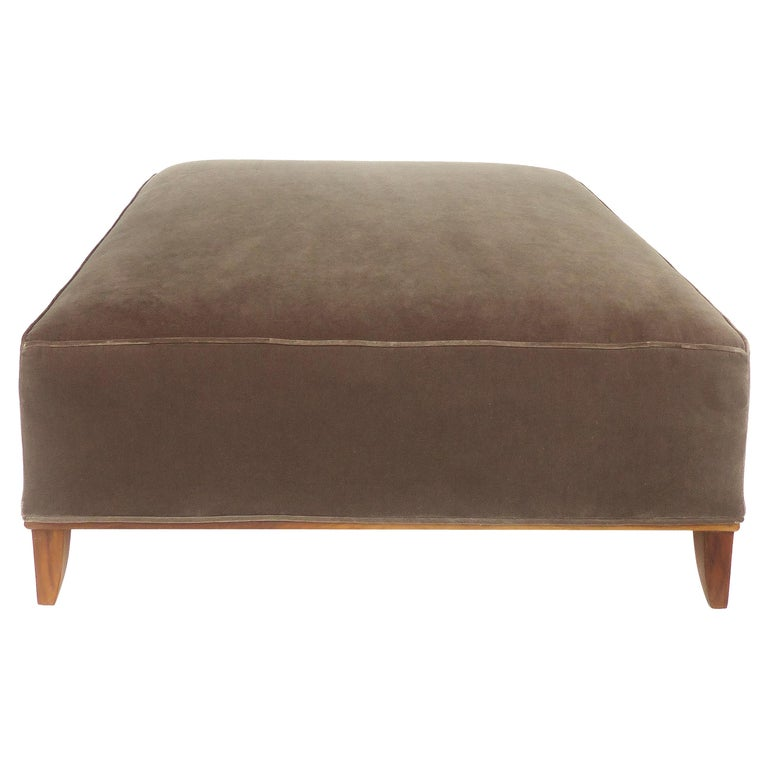 Mid-Century Modern Mohair Upholstered Ottoman with Wood Base