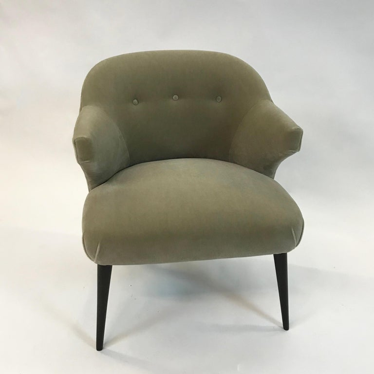American Mid-Century Modern Mohair Wing Armchair For Sale
