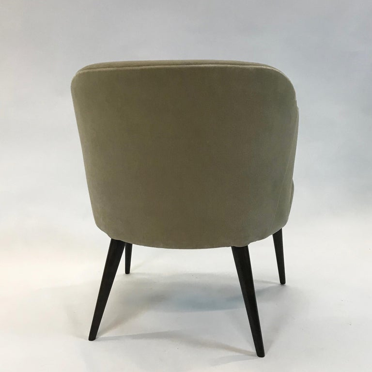 Mid-Century Modern Mohair Wing Armchair For Sale 2