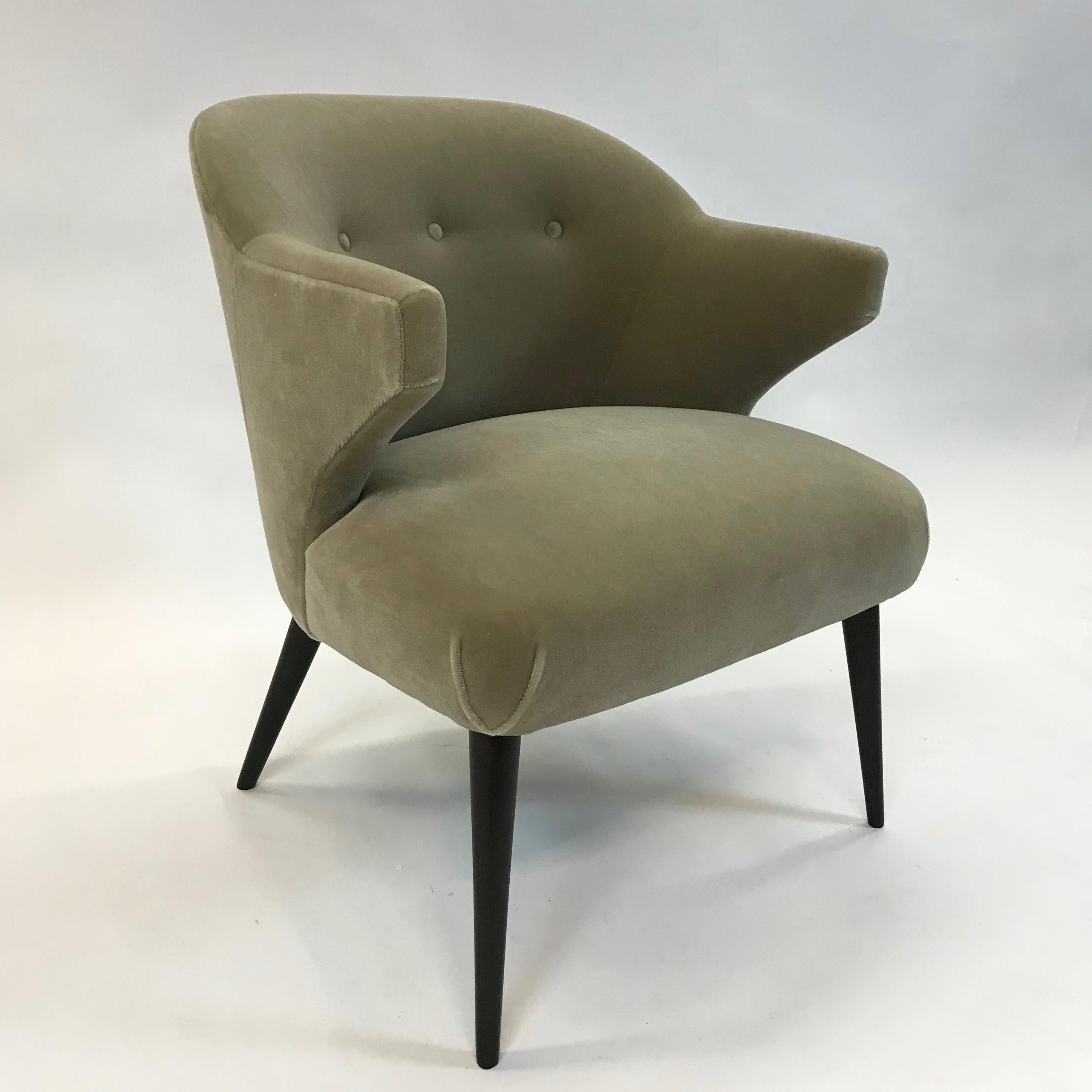 Mid Century Modern Mohair Wing Armchair For Sale at 1stdibs