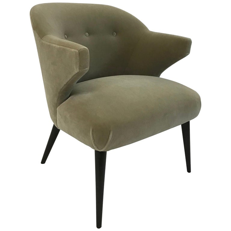 Mid-Century Modern Mohair Wing Armchair For Sale
