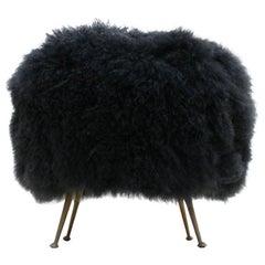 Mid-Century Modern Mongolian Goat Fur Italian Footstool