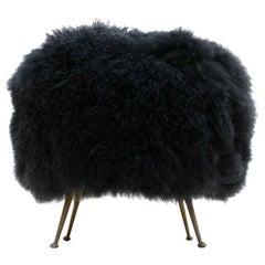 Mid-Century Modern Mongolian Goat Fur Round Footstool, Italy, 1950s