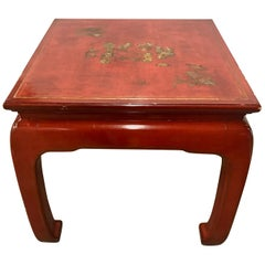Mid -Century Modern Mont Style Chinese Red Lacquer End Table