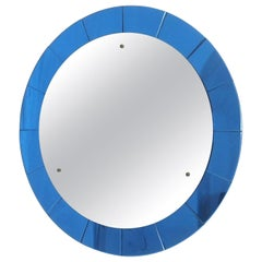 Mid-Century Modern Monumental Blue Round Wall Mirror by Cristal Arte, Italy 1950