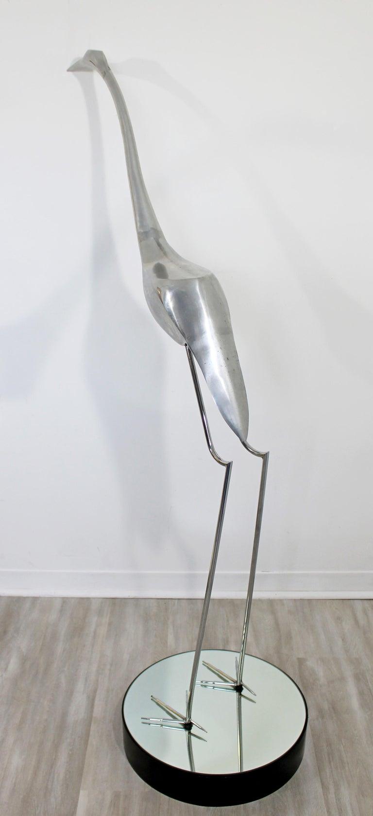 American Mid-Century Modern Monumental Curtis Jere Chrome Heron Floor Sculpture, 1970s For Sale