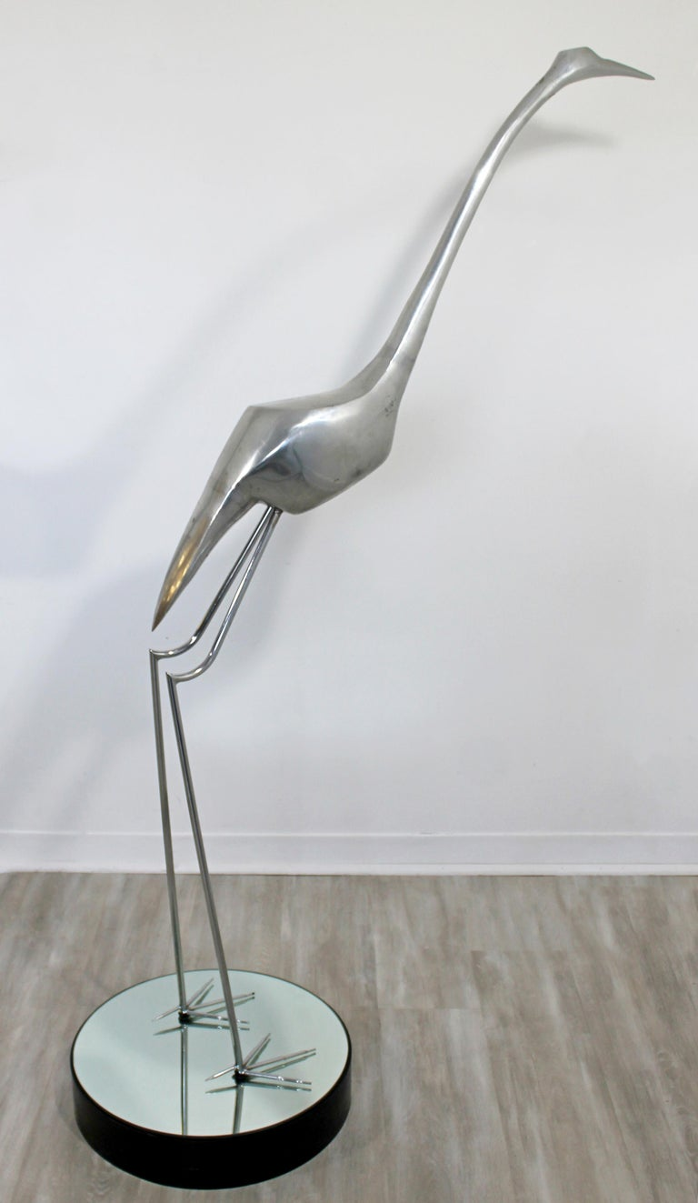 Late 20th Century Mid-Century Modern Monumental Curtis Jere Chrome Heron Floor Sculpture, 1970s For Sale
