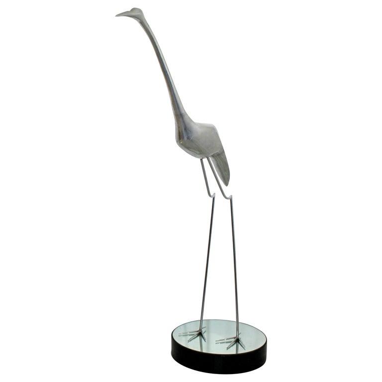 Mid-Century Modern Monumental Curtis Jere Chrome Heron Floor Sculpture, 1970s For Sale