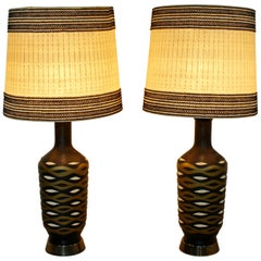 Mid-Century Modern Monumental FAIP Pair of Chalkware Ceramic Table Lamps
