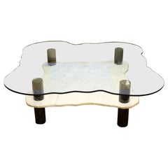 Mid-Century Modern Monumental Marble & Glass Two-Tier Coffee Table by Stone Int.