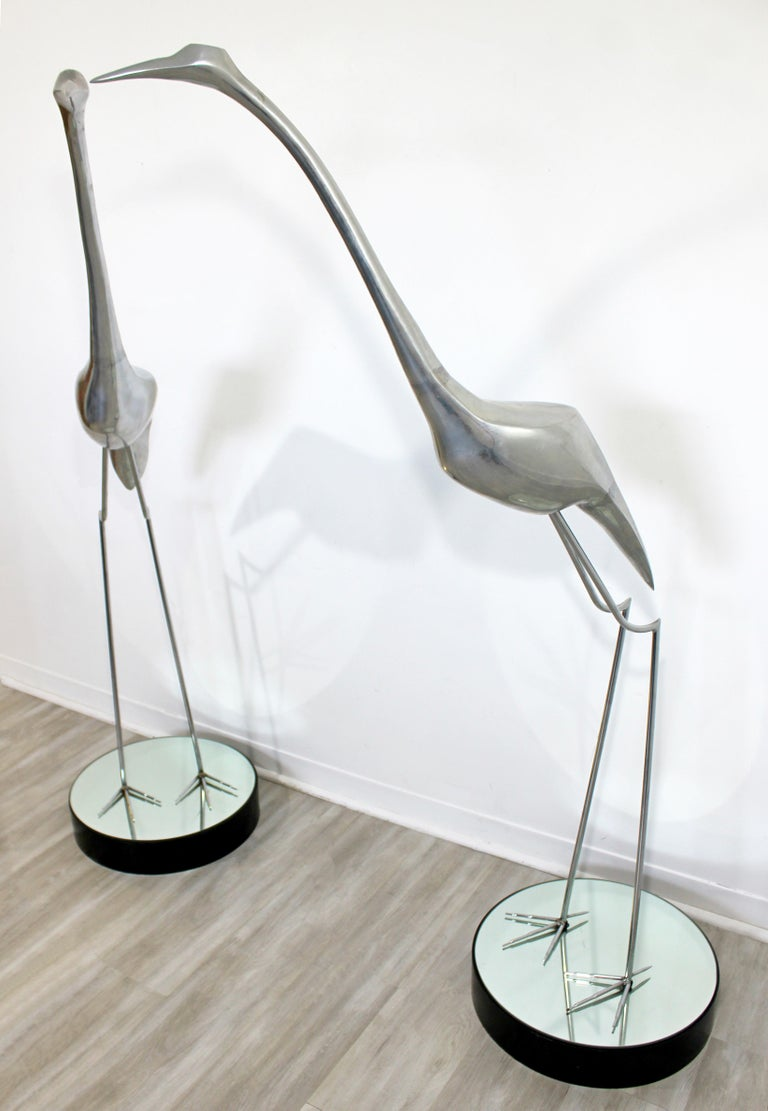 Mid-Century Modern Monumental Pair of Jere Chrome Heron Floor Sculptures, 1970s In Good Condition For Sale In Keego Harbor, MI