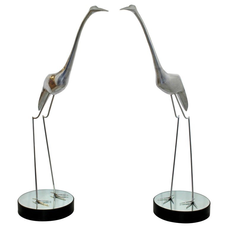 Mid-Century Modern Monumental Pair of Jere Chrome Heron Floor Sculptures, 1970s For Sale