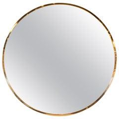 Mid-Century Modern Monumental Round Minimalist Brass Wrapped Mirror