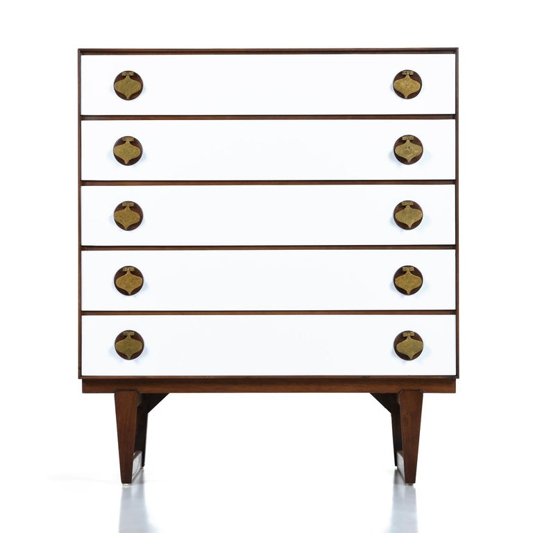 Mid-Century Modern Moroccan Style Brass Spade Pull Bedroom Set by Stanley For Sale 1