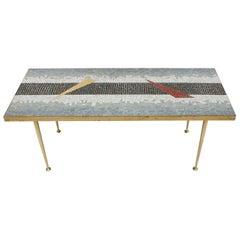 Mid-Century Modern Mosaic and Brass Austrian Center Table, 1950