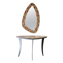 Mid-Century Modern Mosaic Console Table and Mirror