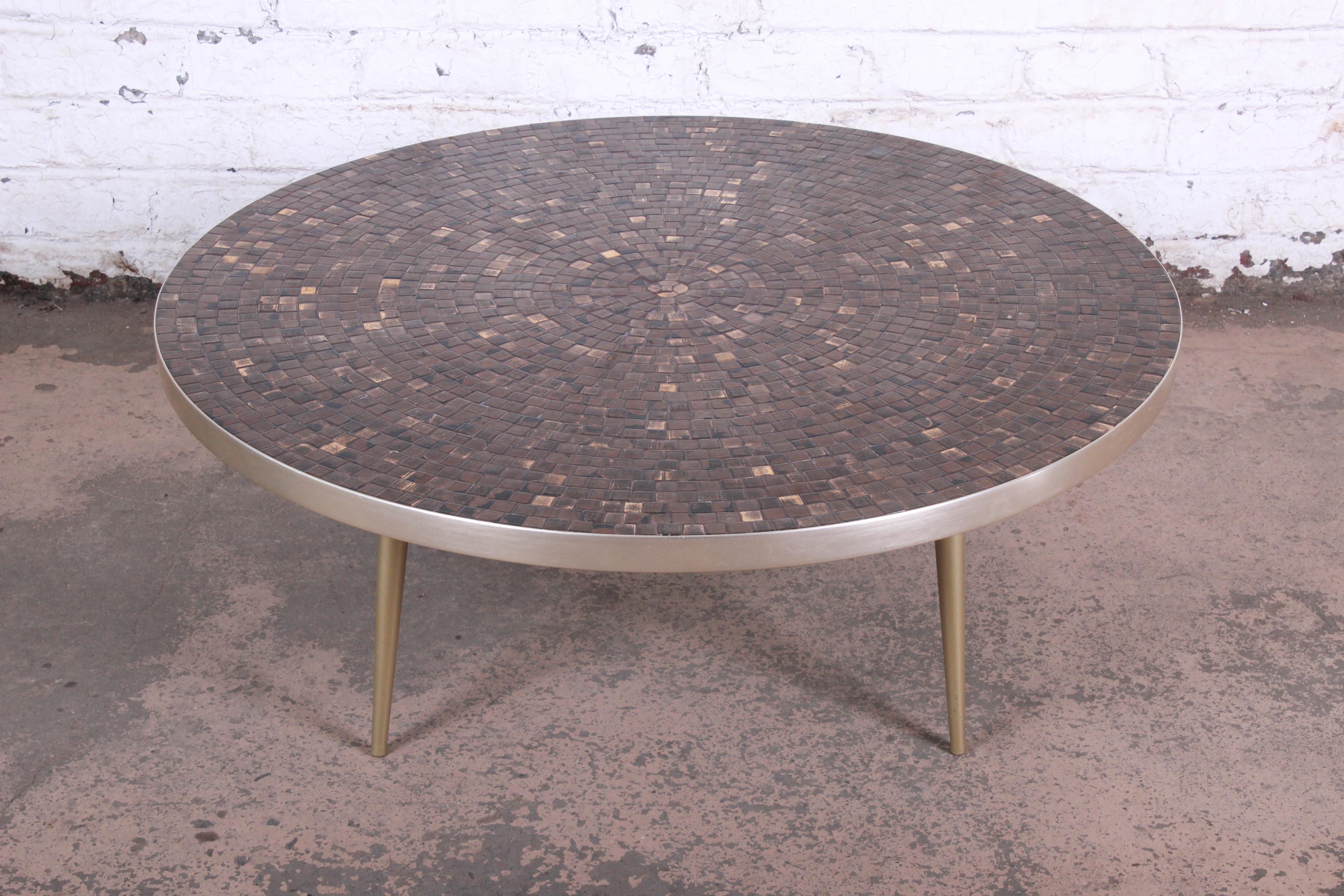 Mid Century Modern Mosaic Tile And Brass Coffee Table For Sale At