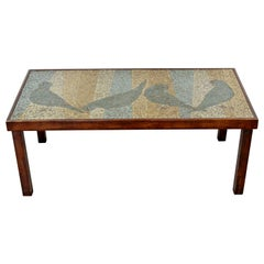 Mid-Century Modern Mosaic Tile Art Top Rectangular Wood Coffee Table Birds 1960s