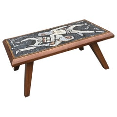 Mid-Century Modern Mosaic Tile Top Coffee Table