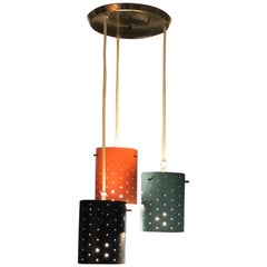 Mid-Century Modern Multi-Color Hanging Cylindrical Metal Light
