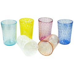Mid-Century Modern Multicolor Set of Six Murano Drinking Glasses Tumbler