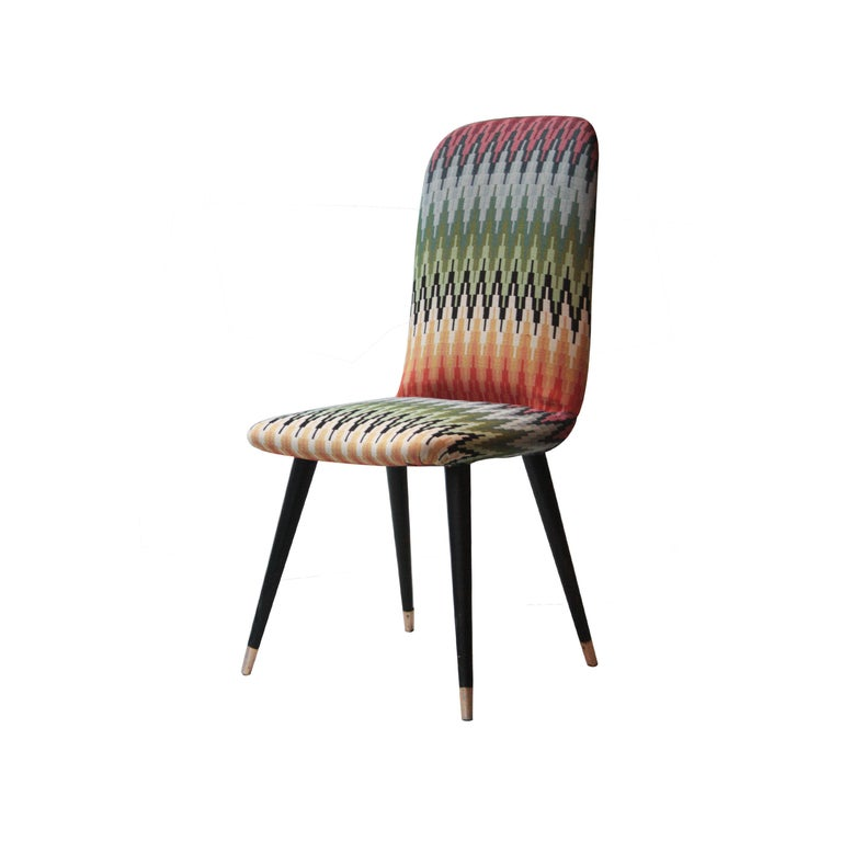 Mid-Century Modern Multicolored Black Italian Couple of Chairs, Italy, 1950 In Good Condition For Sale In Madrid, ES