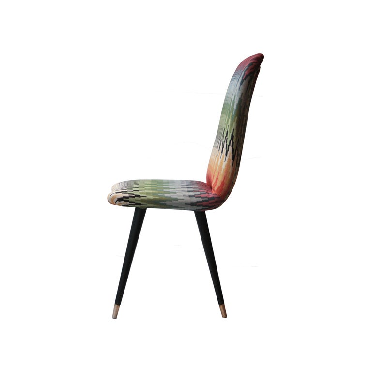 Mid-20th Century Mid-Century Modern Multicolored Black Italian Couple of Chairs, Italy, 1950 For Sale