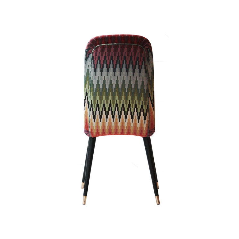 Brass Mid-Century Modern Multicolored Black Italian Couple of Chairs, Italy, 1950 For Sale