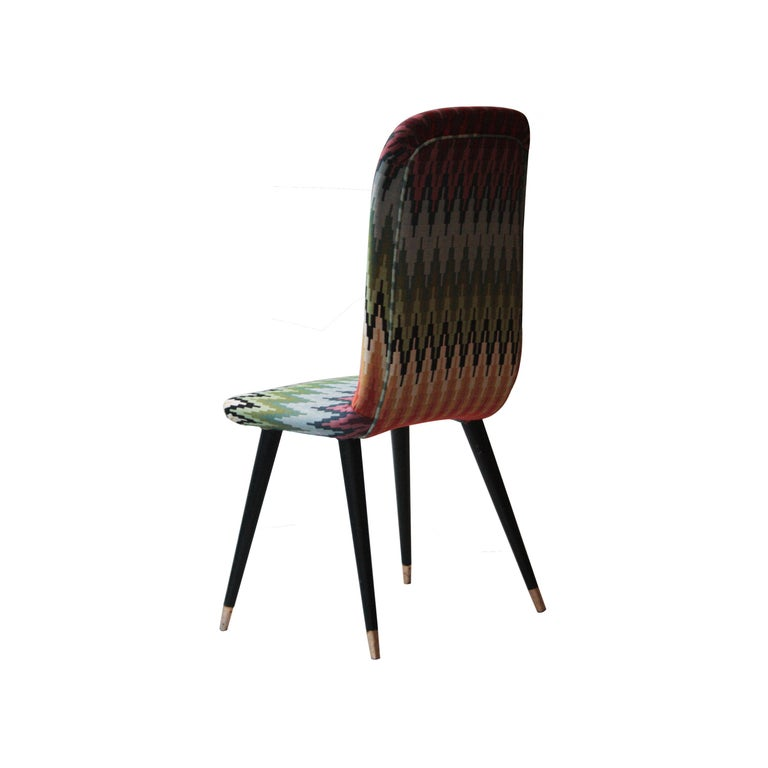 Mid-Century Modern Multicolored Black Italian Couple of Chairs, Italy, 1950 For Sale 1