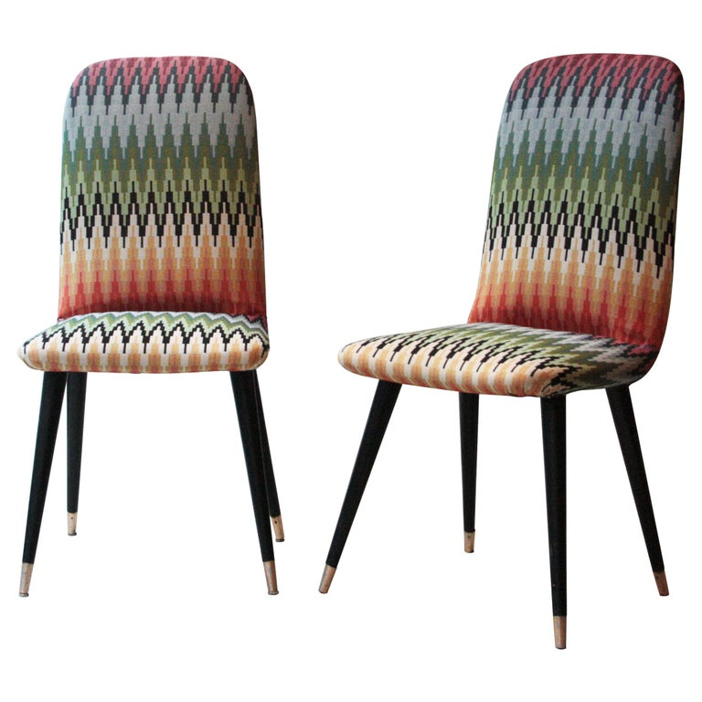 Mid-Century Modern Multicolored Black Italian Couple of Chairs, Italy, 1950 For Sale