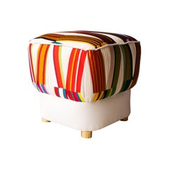 Mid-Century Modern Multicolored White Brass Italian Pouf, 1950