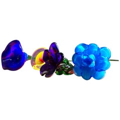 Mid-Century Modern Murano Art Glass Flowers, Floral Bouquet of Four