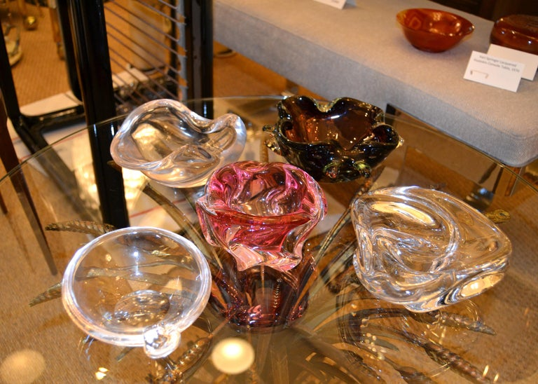 Hand-Crafted Mid-Century Modern Murano Blown Art Glass Clear Catchall, Bowl, Vide Poche Italy