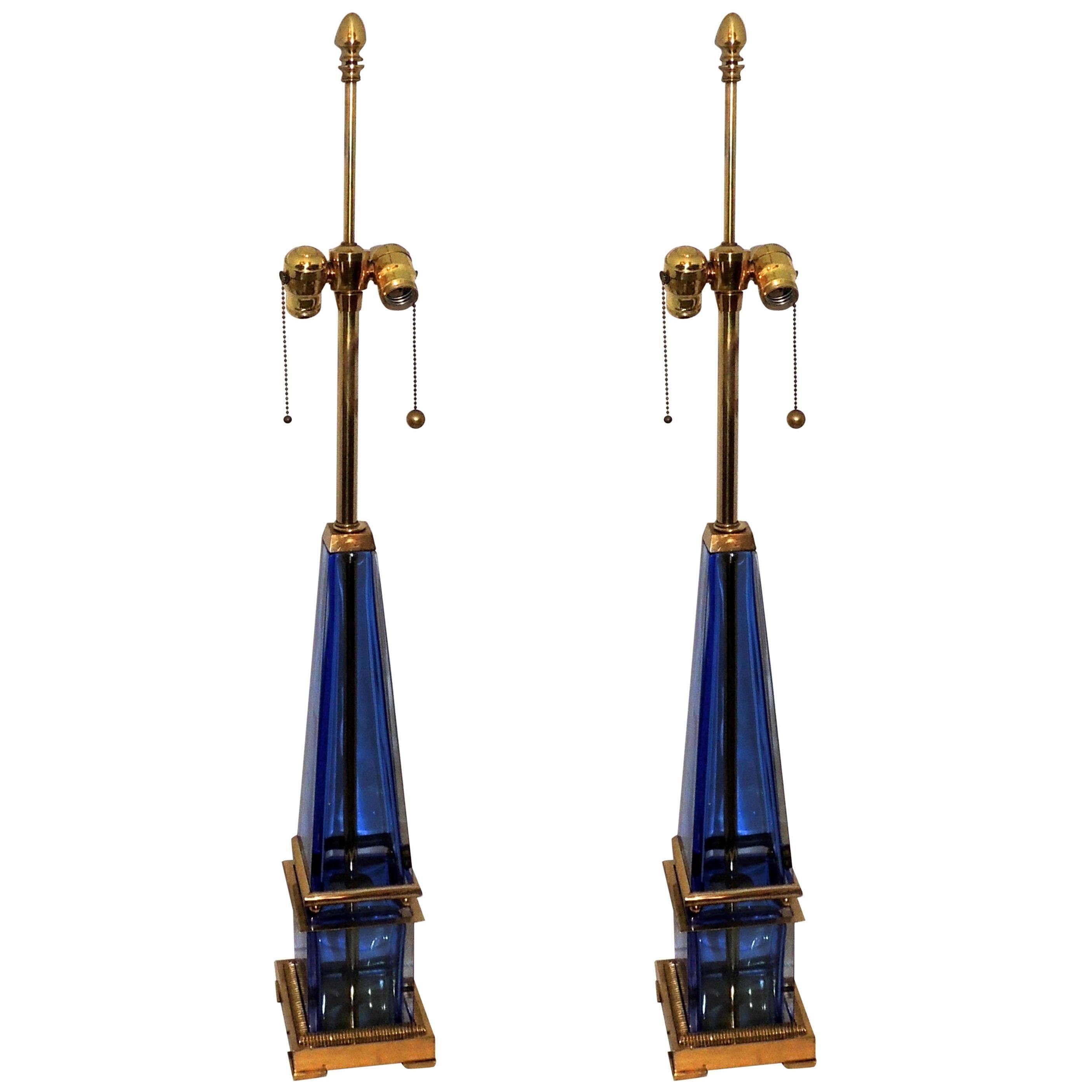 Mid-Century Modern Murano Blue Art Glass Brass Bronze Pair Obelisk Marbro Lamps