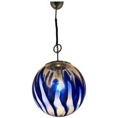 Mid-Century Modern Murano Blue Glass Sphere Chandelier by Mazzega, circa 1970