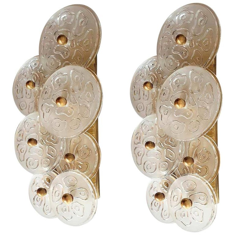 Mid-Century Modern Murano Clear Glass Discs & Brass Four Sconces, Vistosi 1960s For Sale