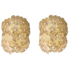 Mid-Century Modern Neoclassical Murano Glass Gold Flower Sconces, Barovier Italy