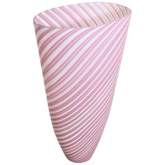Mid-Century Modern Murano Cranberry or Pink and White Striped Art Glass Vase